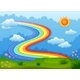 Rainbow with Sparkling Stars Above the Hills - GraphicRiver Item for Sale