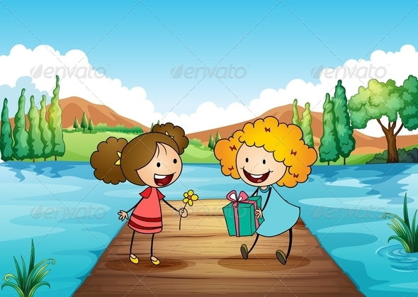 GraphicRiver Two Girls Exchanging Gifts at the River 7935067