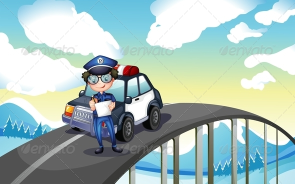 GraphicRiver An Officer and His Patrol Car on Road 7935092