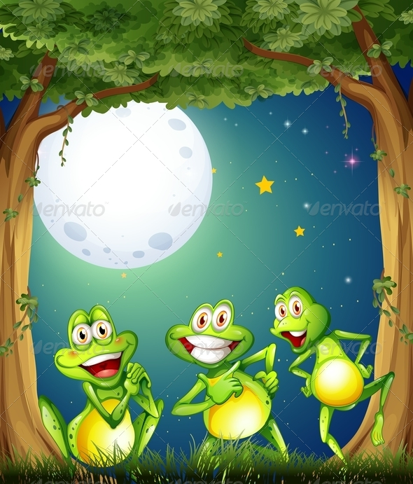 GraphicRiver Three Playful Frogs Playing at the Woods 7935097