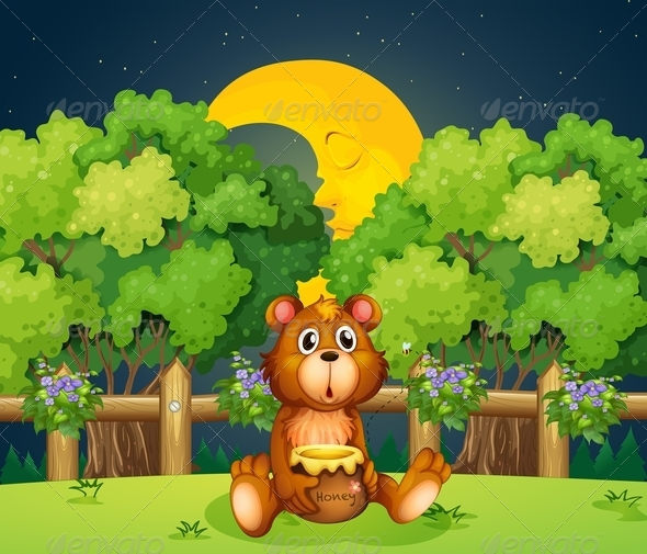 GraphicRiver Bear at the Woods in the Middle of the Night 7935098