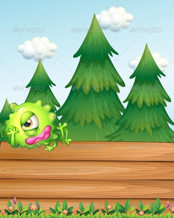 GraphicRiver Sad Monster Above the Empty Signboards 7935191