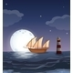 A Wooden Boat in the Ocean - GraphicRiver Item for Sale