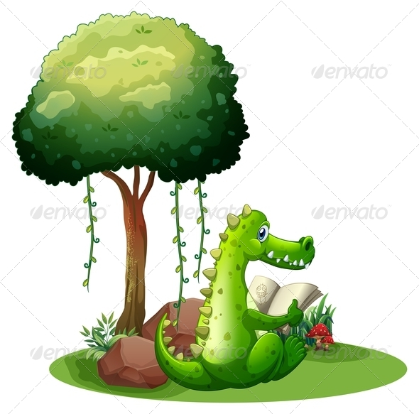 GraphicRiver A Crocodile Reading Beside the Tree 7935193