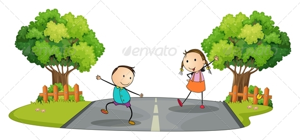 GraphicRiver Two Kids Playing at the Street 7935197