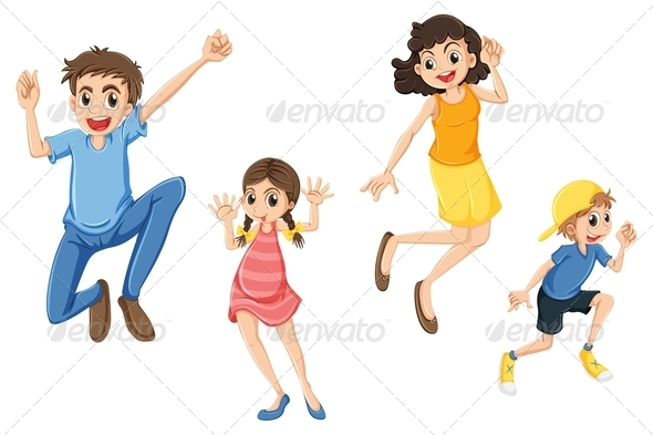 GraphicRiver Happy Family Jumping 7935198