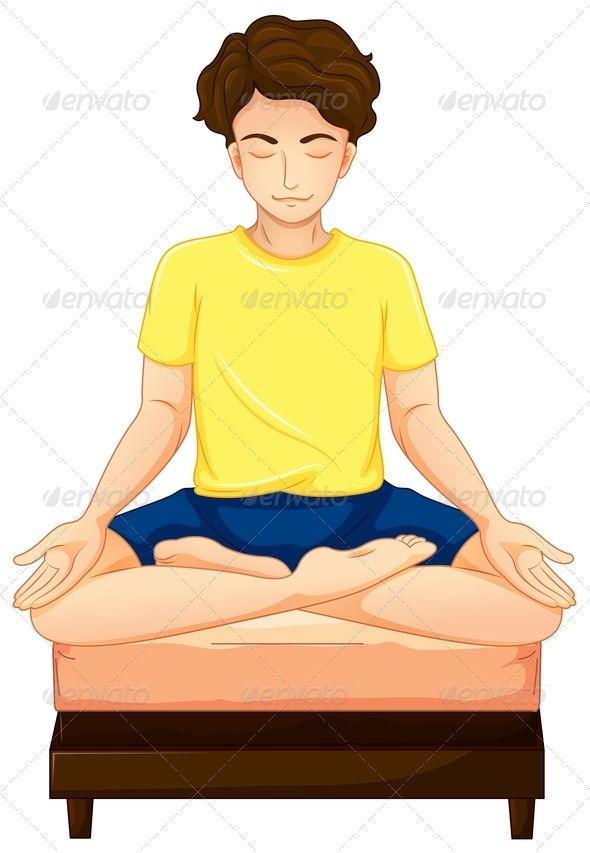 Man Doing Yoga in His Bed
