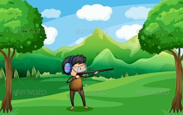 GraphicRiver Man with a Gun at the Forest 7935313