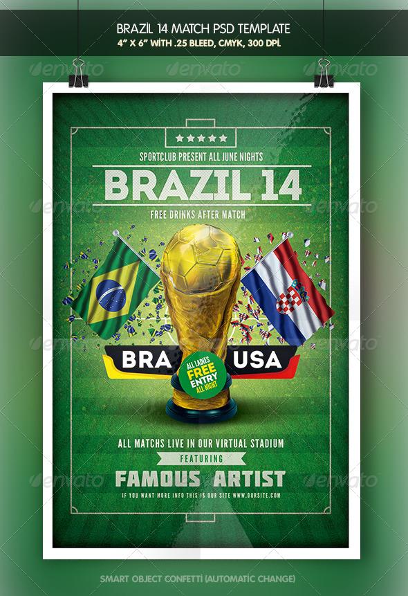 GraphicRiver Soccer Brazil 14 Match Flyer 7926741