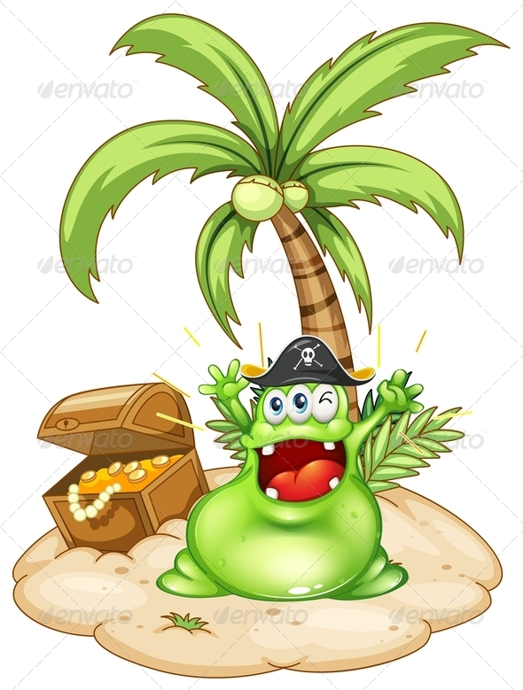 GraphicRiver Happy Green Monster in an Island with a Treasure 7936473