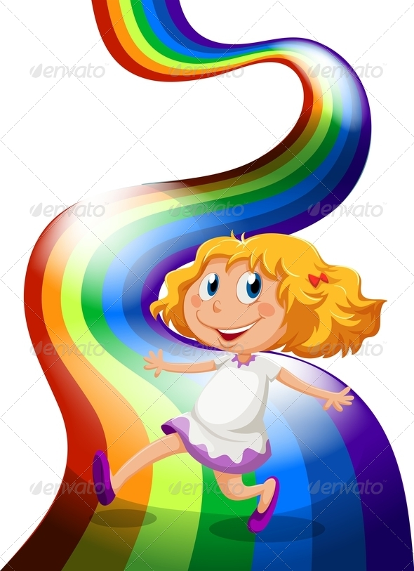 GraphicRiver A Young Girl Playing at the Rainbow 7936515