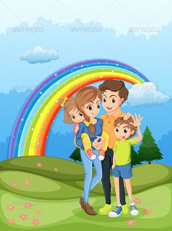 GraphicRiver Family Strolling with Rainbow in the Sky 7936584