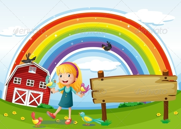 GraphicRiver Girl with Empty Sign and Rainbow 7936591
