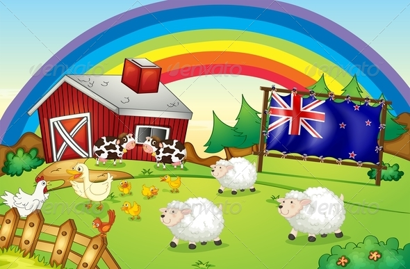 Farm and Rainbow with New Zealand Flag