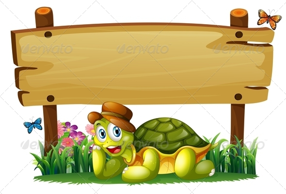 GraphicRiver Turtle with Empty Wooden Sign 7937127