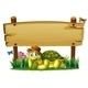 Turtle with Empty Wooden Sign - GraphicRiver Item for Sale