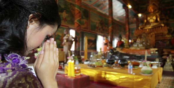 Asian Girl Praying In Temple Cambodia 8