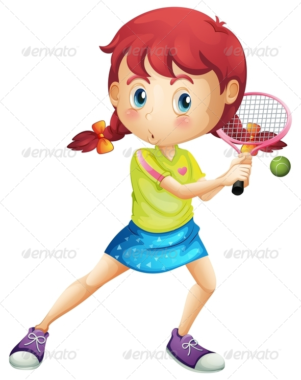 GraphicRiver Girl Playing Tennis 7937425