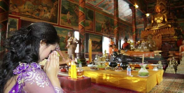 Asian Girl Praying In Temple Cambodia 7