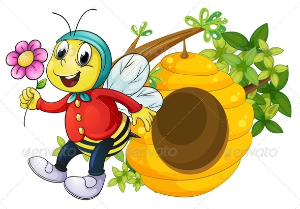 GraphicRiver A Bee Holding a Flower 7937447