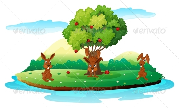 GraphicRiver An Island with Three Playful Rabbits 7937462