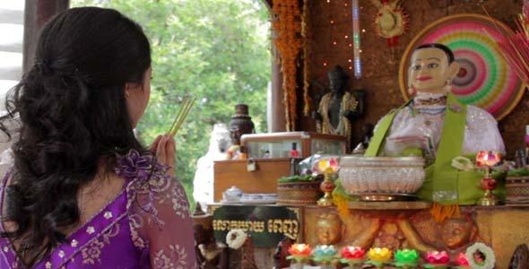 Asian Girl Praying In Temple Cambodia 3