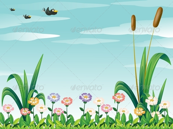 GraphicRiver Garden with Fresh Flowers and Birds 7937496