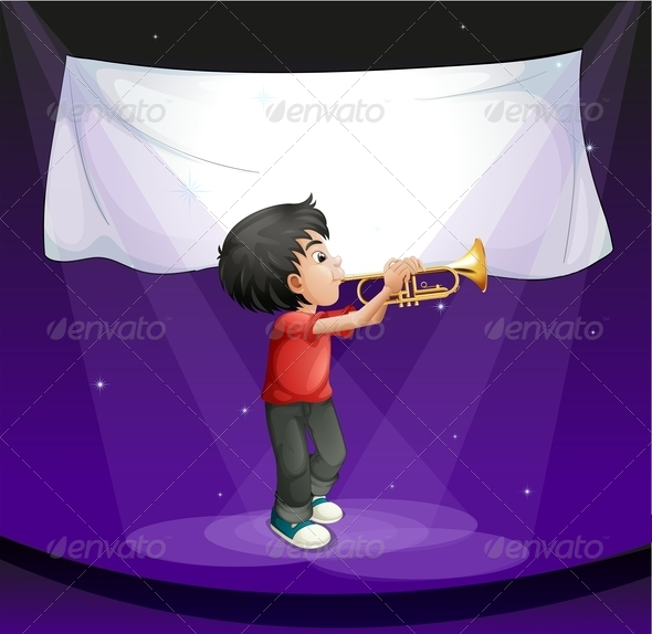 GraphicRiver Boy Performing on a Stage with an Empty Banner 7937500
