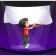 Boy Performing on a Stage with an Empty Banner - GraphicRiver Item for Sale