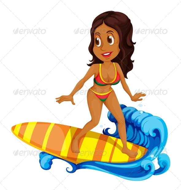 GraphicRiver Tanned Girl Surfing 7937529