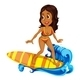 Tanned Girl Surfing - GraphicRiver Item for Sale