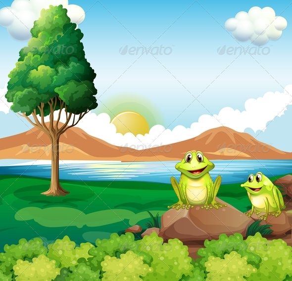 GraphicRiver Two Frogs Near River 7937534