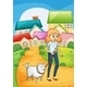 Woman Strolling with Her Dog - GraphicRiver Item for Sale