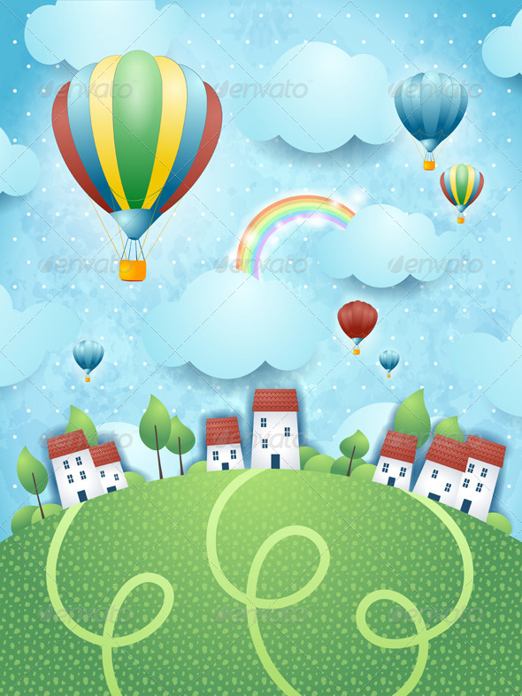 GraphicRiver Fantasy Landscape with Hot Air Balloons 7937575