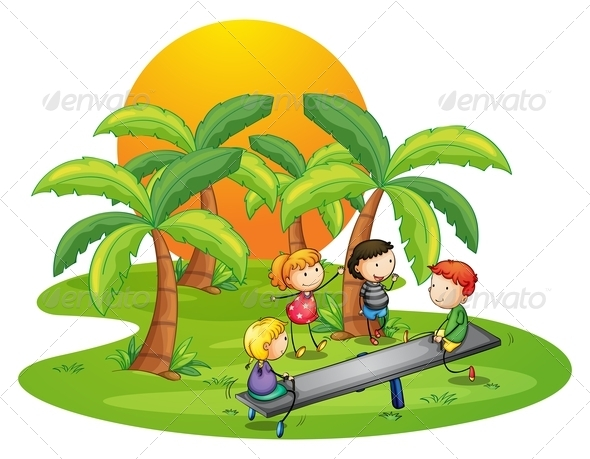 GraphicRiver Kids Playing Seesaw Near Coconut Trees 7937612