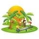 Kids Playing Seesaw Near Coconut Trees - GraphicRiver Item for Sale