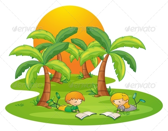 GraphicRiver Two Kids Reading Near Coconut Trees 7937614