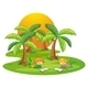 Two Kids Reading Near Coconut Trees - GraphicRiver Item for Sale