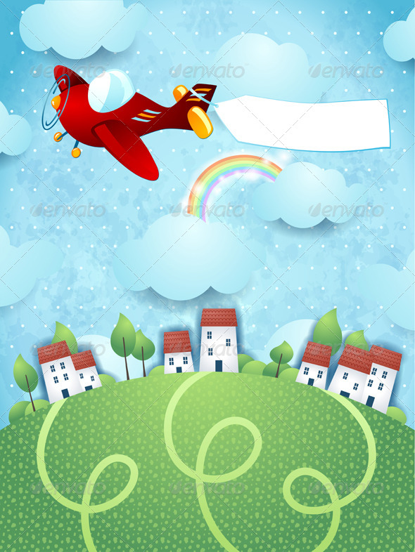 GraphicRiver Fantasy Landscape with Airplane and Banner 7937631
