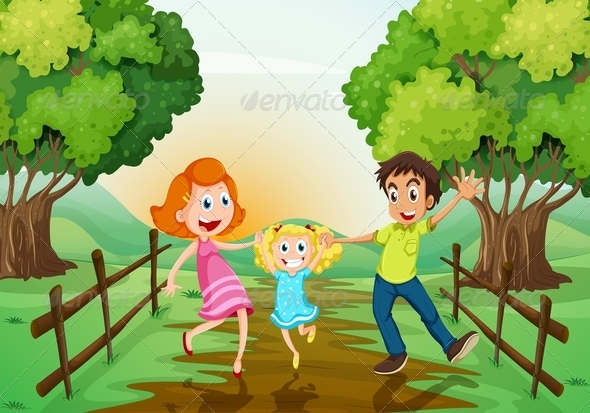 GraphicRiver Happy Family on the Path 7937682