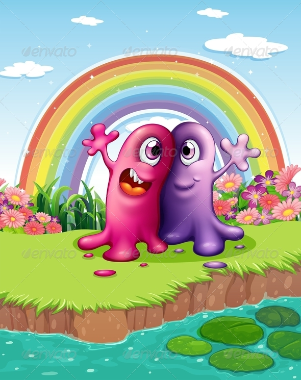 GraphicRiver Two Monsters at the Riverbank with a Rainbow 7937748
