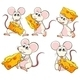 Group of Mice Carrying Slices of Cheese