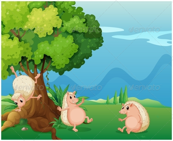 GraphicRiver Three Playful Molehogs Near an Old Tree 7937787