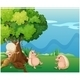Three Playful Molehogs Near an Old Tree - GraphicRiver Item for Sale