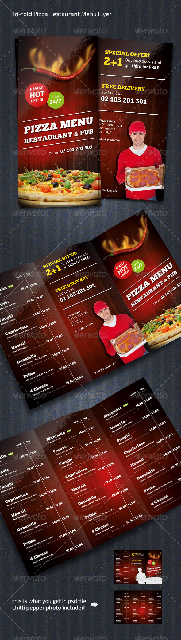 Pizza Restaurant Menu Flyer (Trifold)