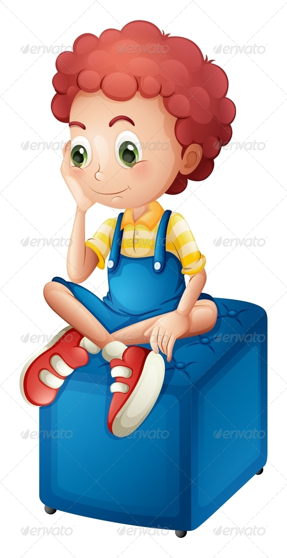 GraphicRiver A Young Boy Sitting Above the Blue Chair 7937847