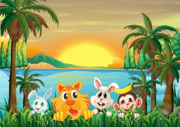 GraphicRiver Animals at the Riverbank with Coconut Trees 7937849