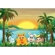 Animals at the Riverbank with Coconut Trees - GraphicRiver Item for Sale