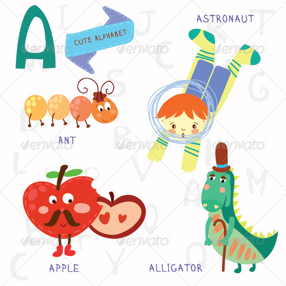 GraphicRiver A Letter Alphabet Illustrations 7937886