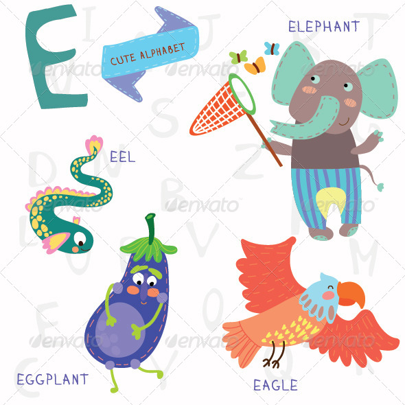 GraphicRiver Very Cute Alphabet E Letter 7938172